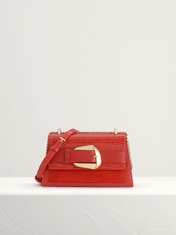 Buckled Croc-Effect Shoulder Bag, Red, hi-res