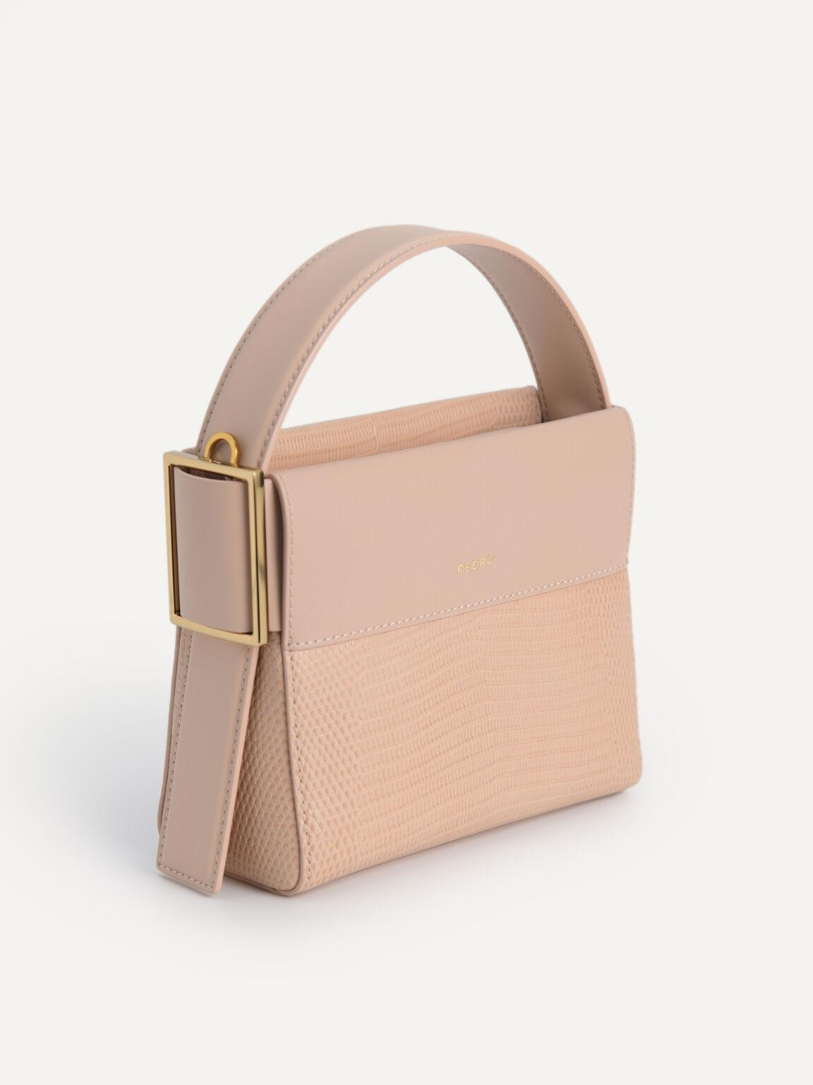 Lizard-Effect Leather Mini Bag, Nude, hi-res