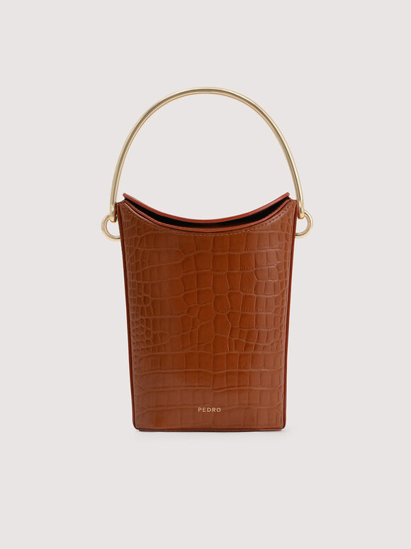 Embossed Leather Bucket Bag, Cognac, hi-res