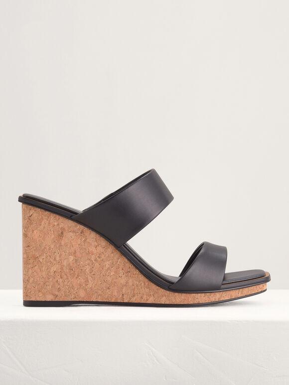 Strappy Wedge Sandals, Black, hi-res