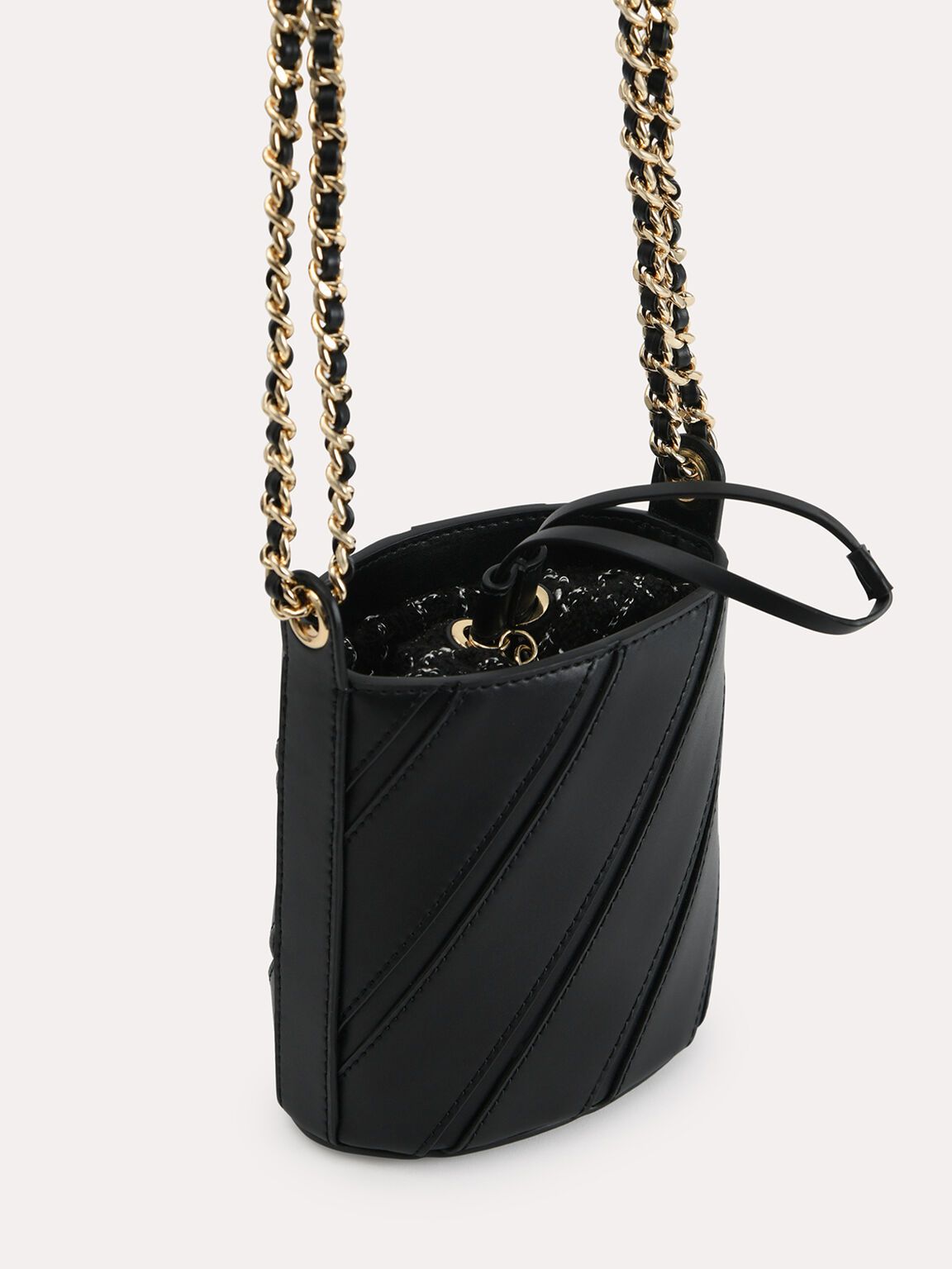Tweed Drawstring Bucket Bag, Black, hi-res