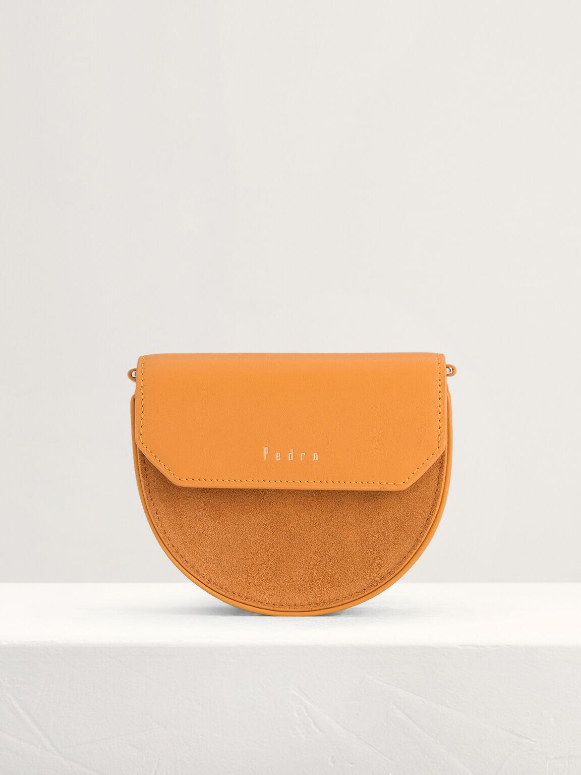 Suede Paneled Leather Card Holder, Orange, hi-res