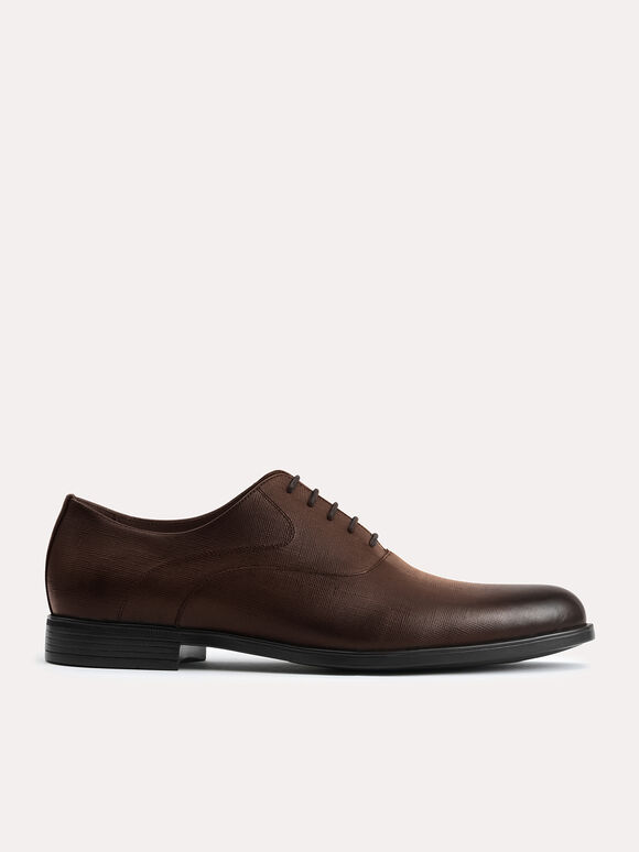 Textured Leather Oxfords, Brown, hi-res