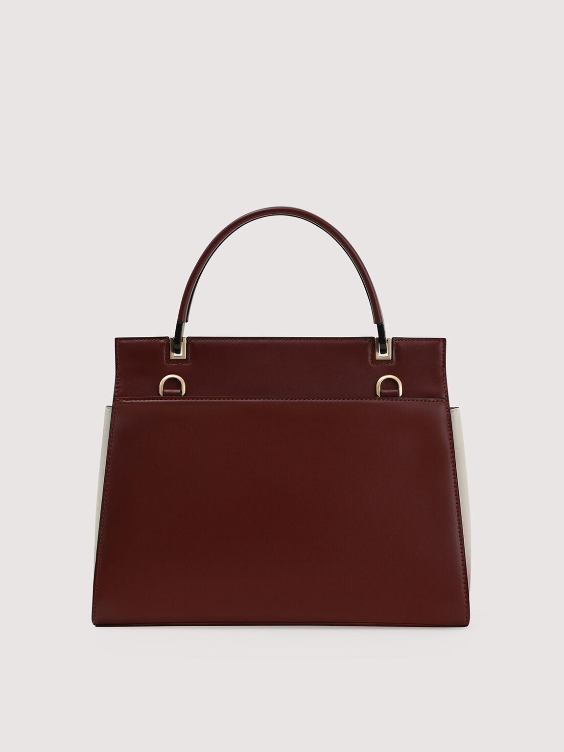 Structured Handbag, Mahogany, hi-res