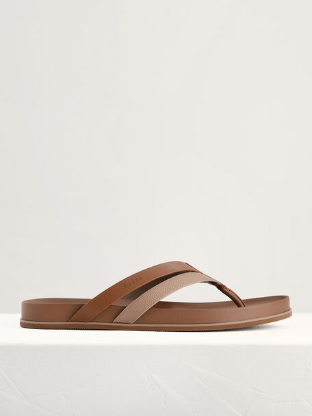 Textured Thong Sandals, Light Brown, hi-res