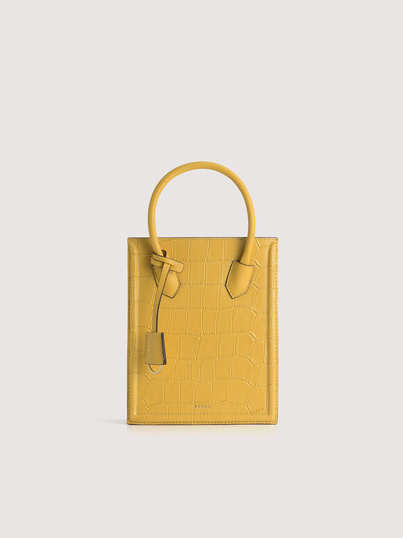 Croc-Effect Leather Tote, Yellow, hi-res