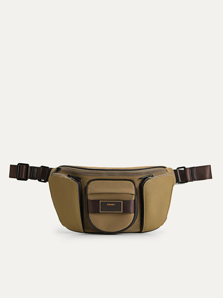 Multipocketed Nylon Sling Pouch, Olive, hi-res