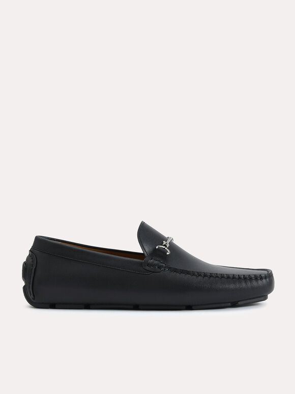 Leather Moccasins with Bit Detailing, Black, hi-res