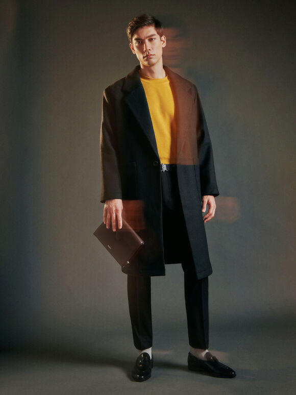 Leather Clutch, Dark Brown, hi-res
