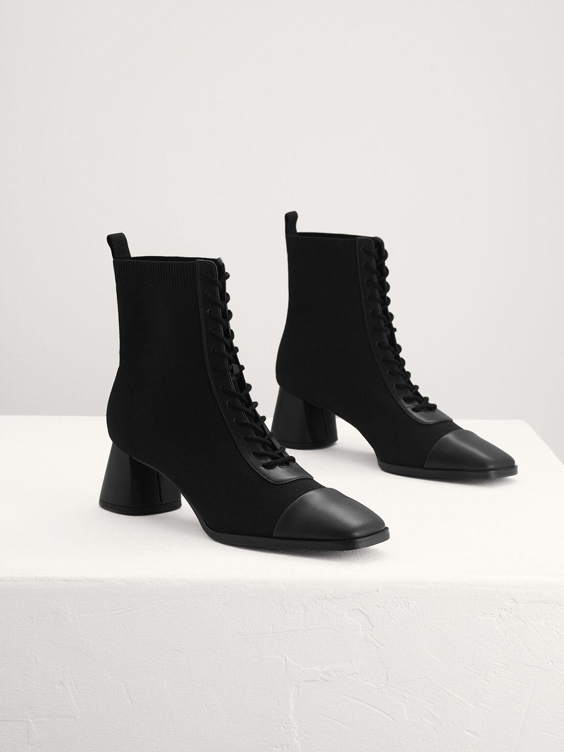 Lace Up Knit Sock Boots, Black, hi-res