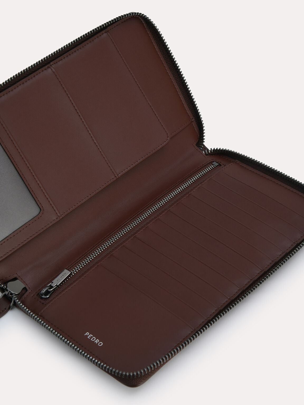 Quilted Leather Travel Organiser, Dark Brown, hi-res