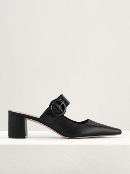 Buckled Leather Mules, Black, hi-res