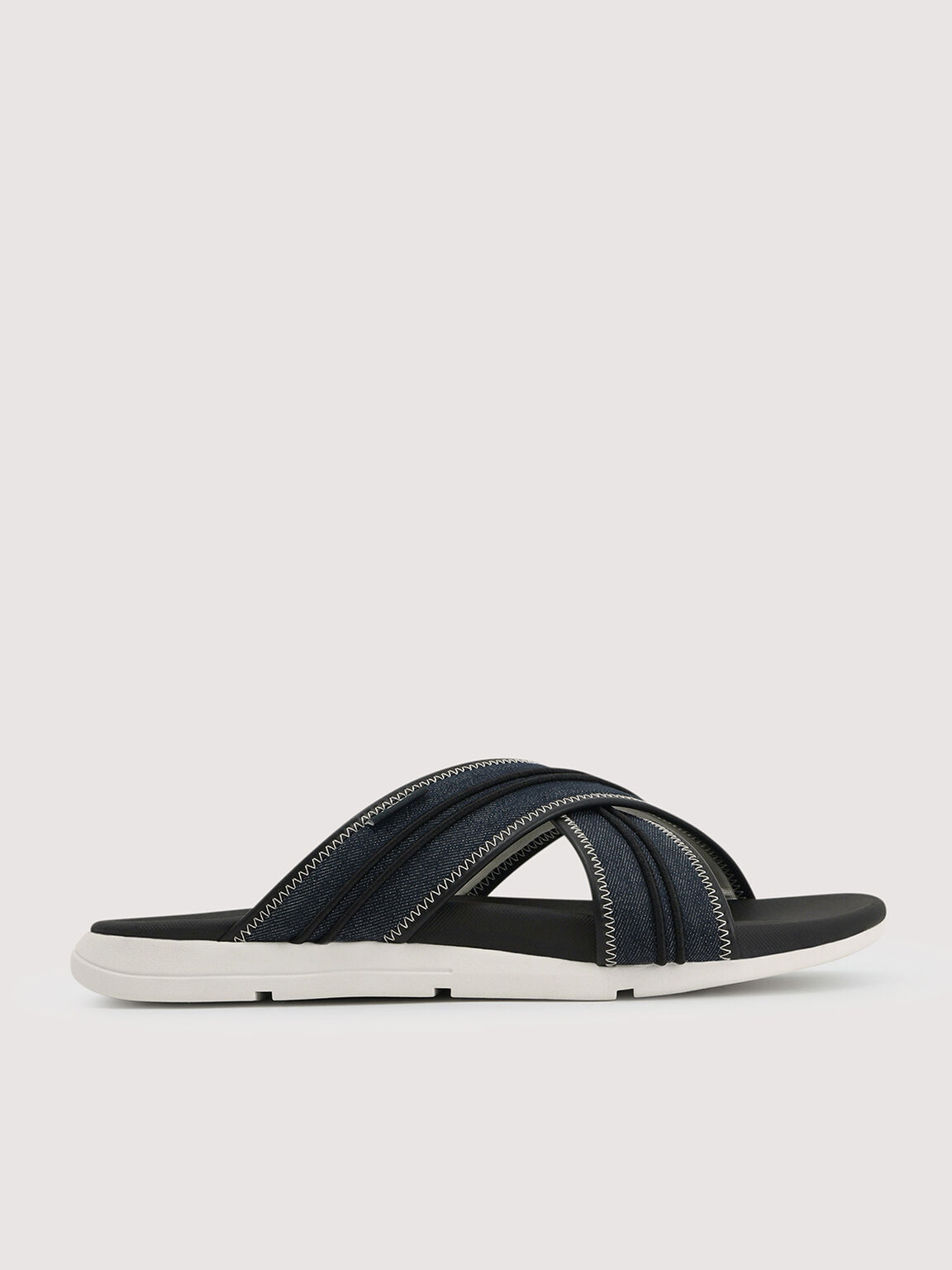 Sustainable Criss-Cross Sandals, Navy, hi-res