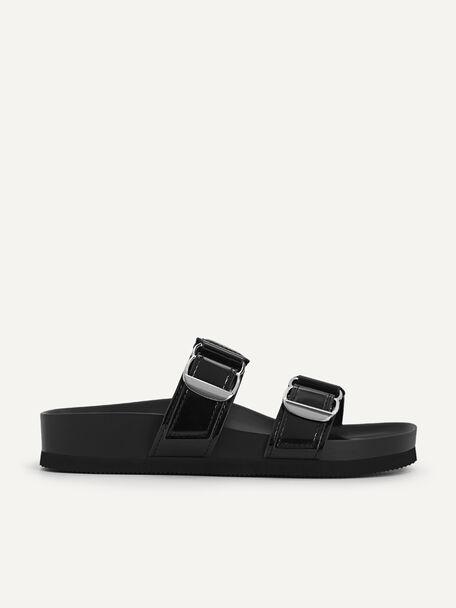 Patent Double Strap Sandals, Black, hi-res