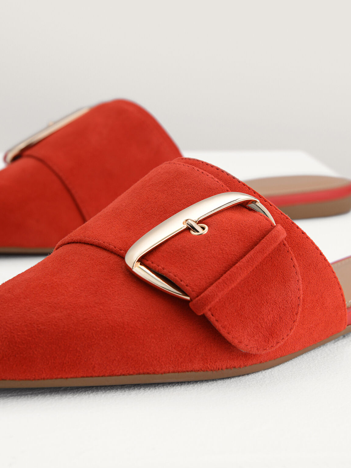 絨面帶扣穆勒鞋, 红色, hi-res