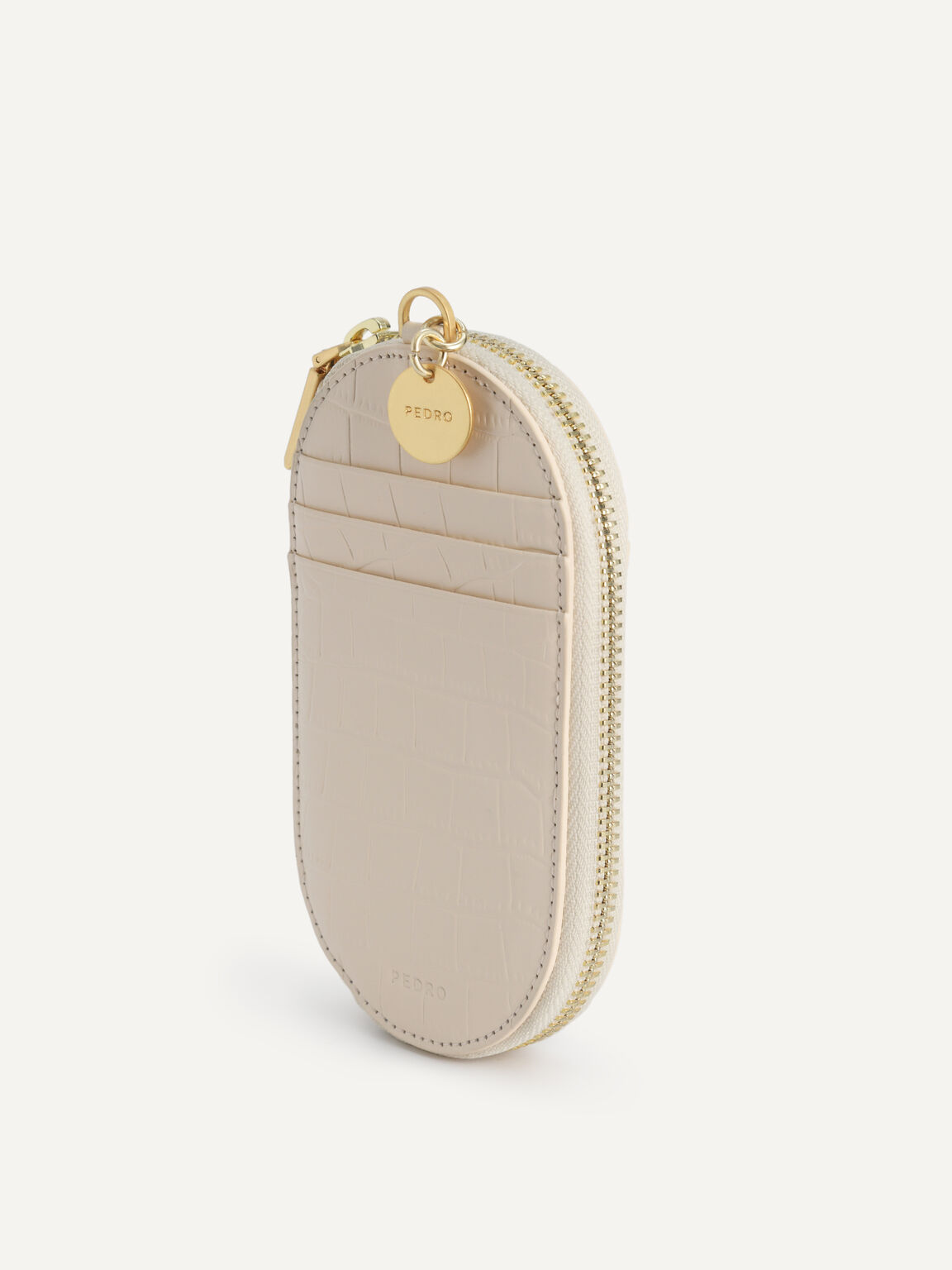 Textured Leather Pouch, Beige, hi-res