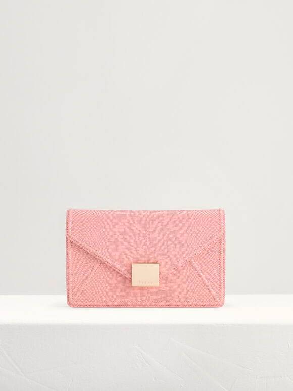 Lizard-Effect Leather Shoulder Bag, Pink, hi-res