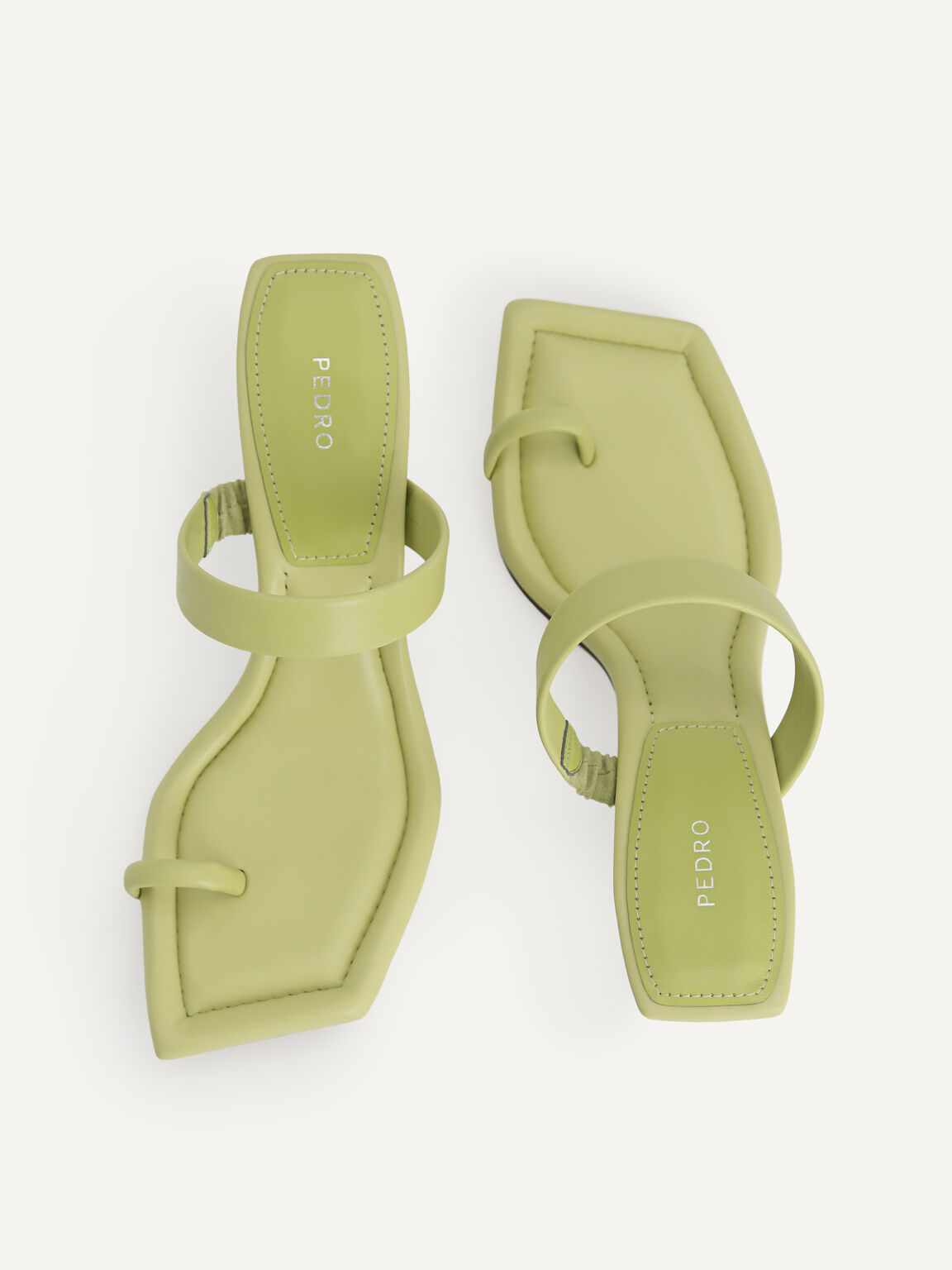 Strappy Toe Loop Heeled Sandals, Olive, hi-res