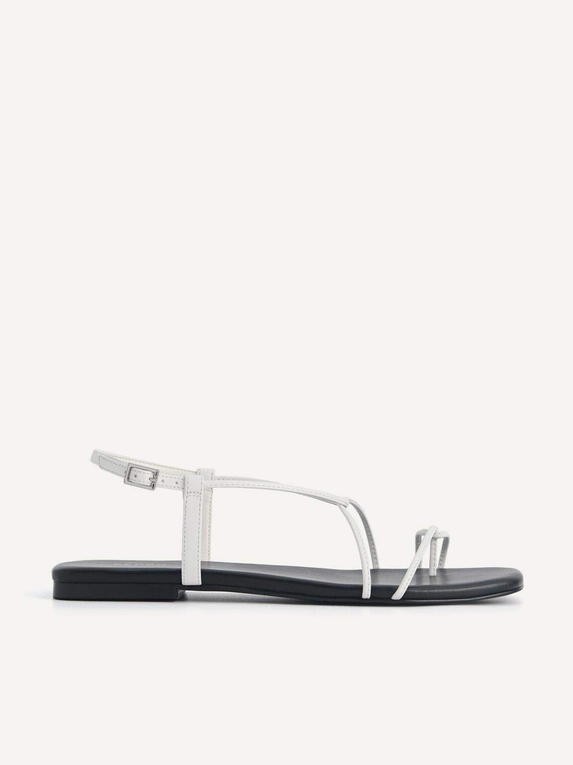 Criss Cross Toe Loop Sandals, White, hi-res