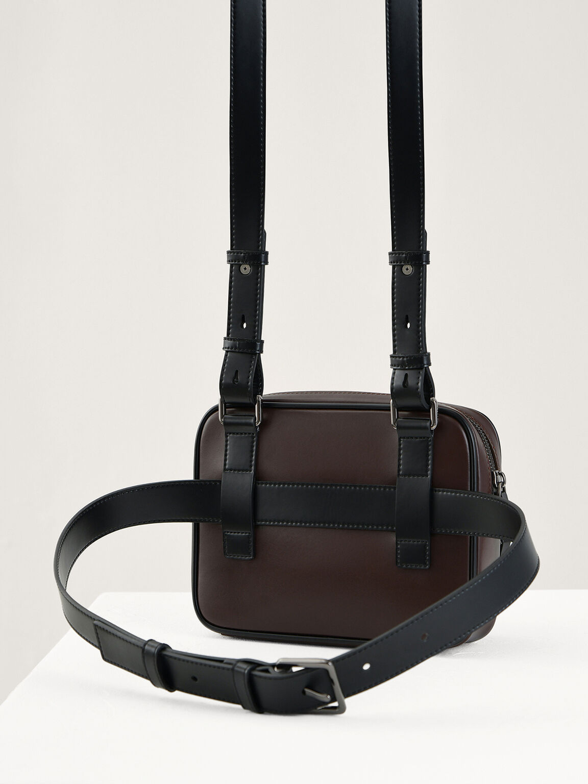 Casual Sling and Waist Pouch, Dark Brown, hi-res