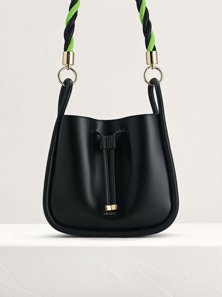 Rope-Trimmed Bucket Bag, Black, hi-res