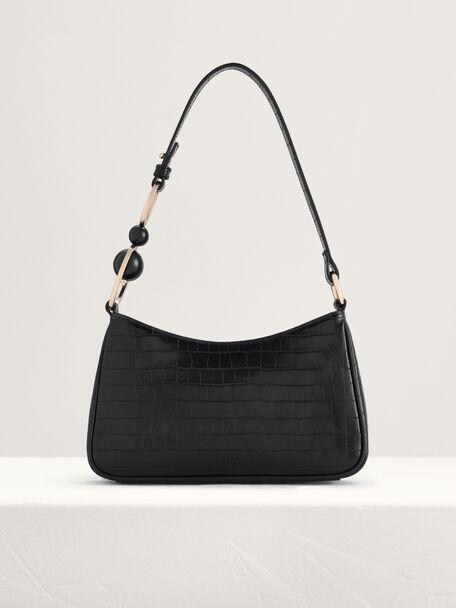 acrylic Embellished Croc-Effect Embossed Shoulder Bag, Black, hi-res
