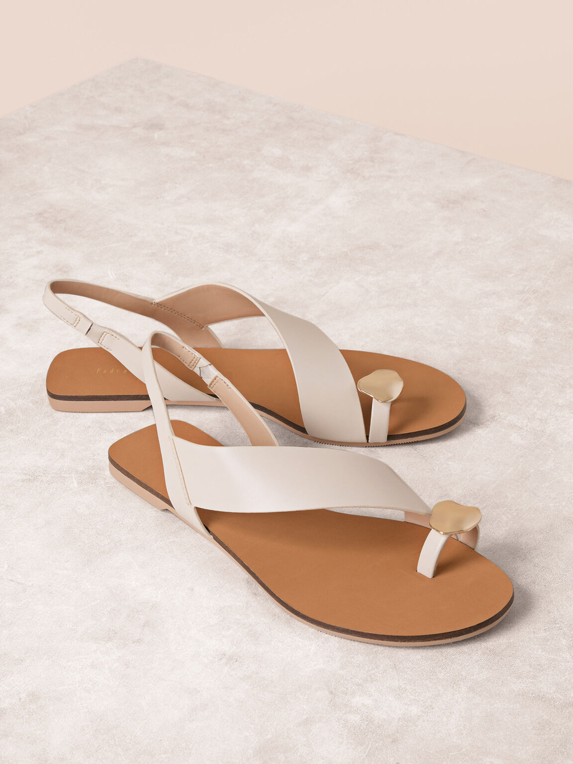 Embellished Ring Toe Sandals, Off White, hi-res