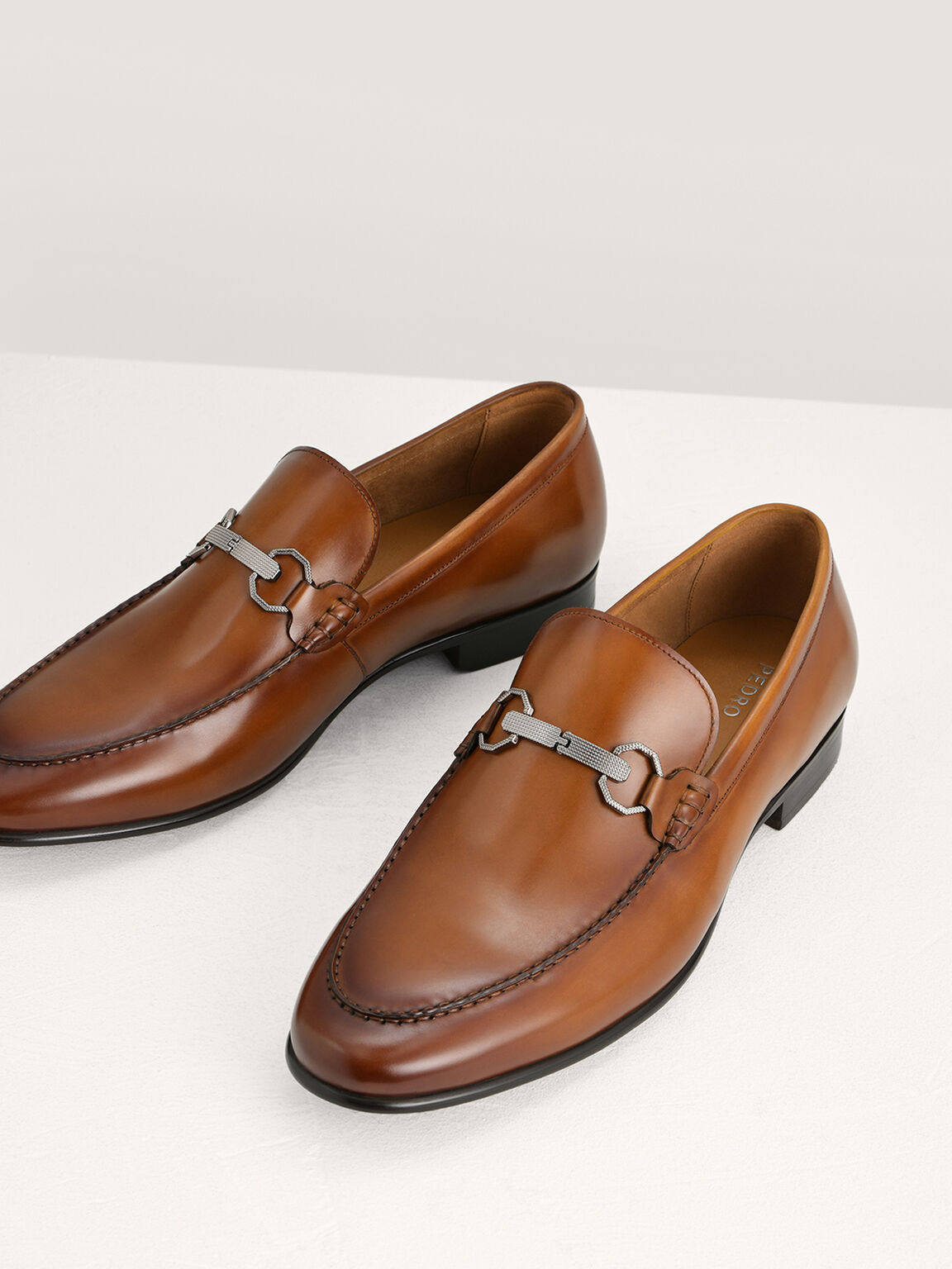 Buckle Leather Loafers, Cognac, hi-res
