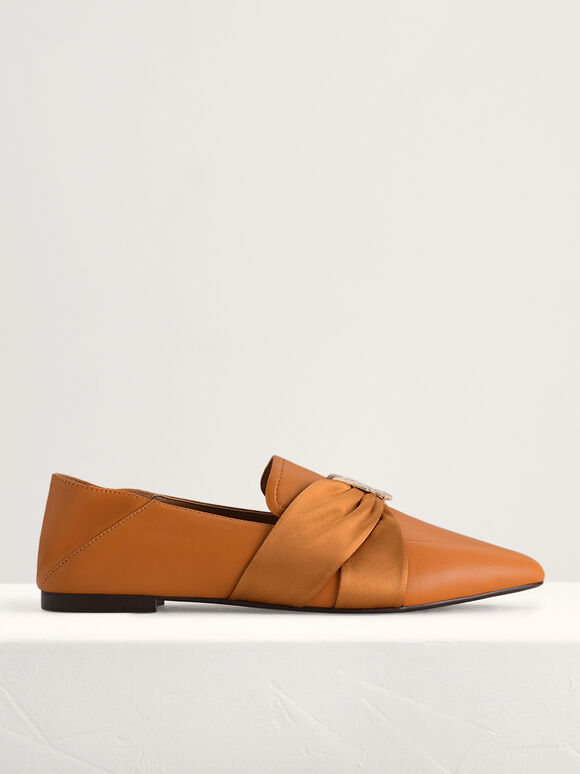 Leather Loafers with Twill Detailing, Camel, hi-res