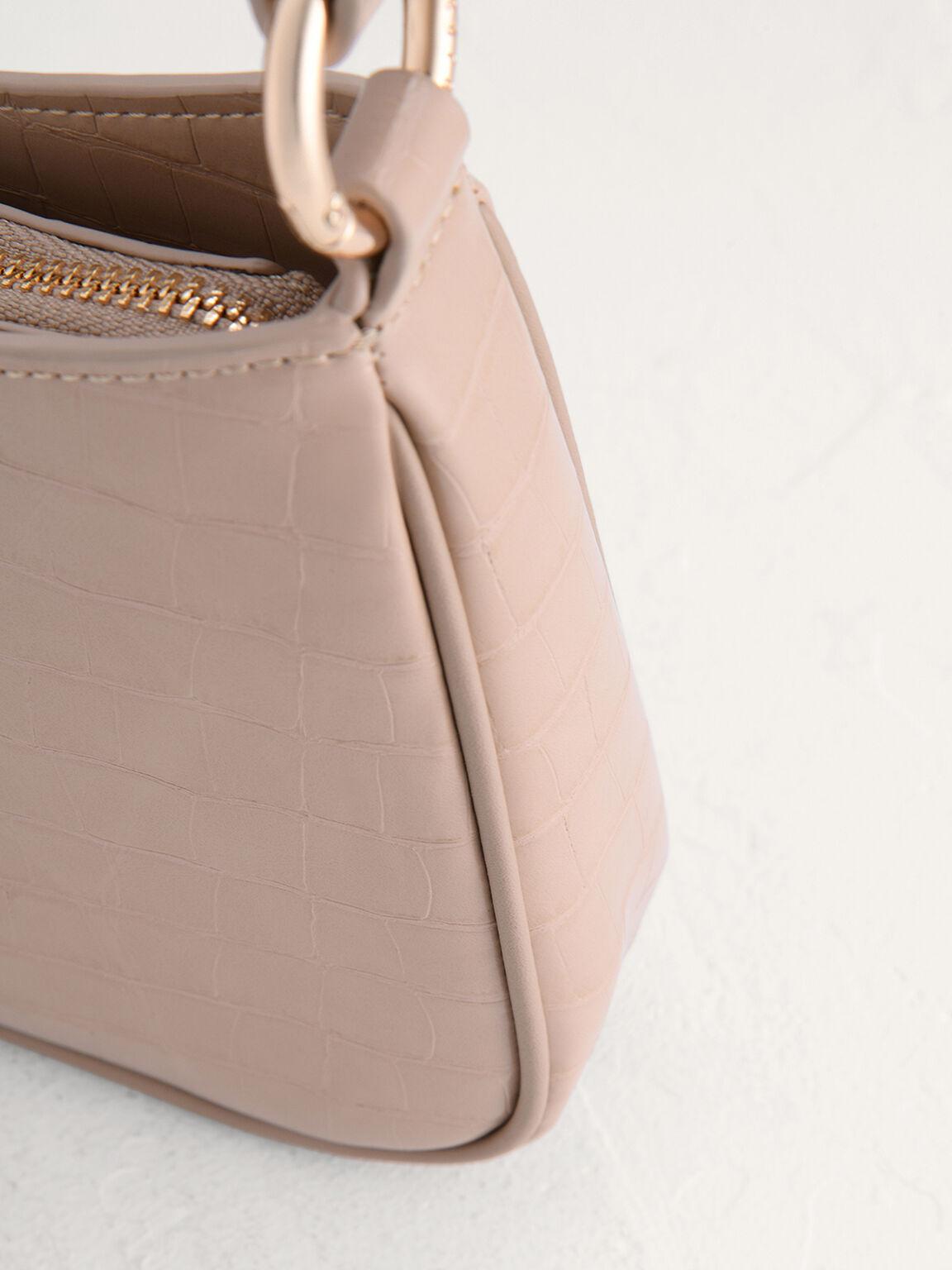 acrylic Embellished Croc-Effect Embossed Shoulder Bag, Taupe, hi-res
