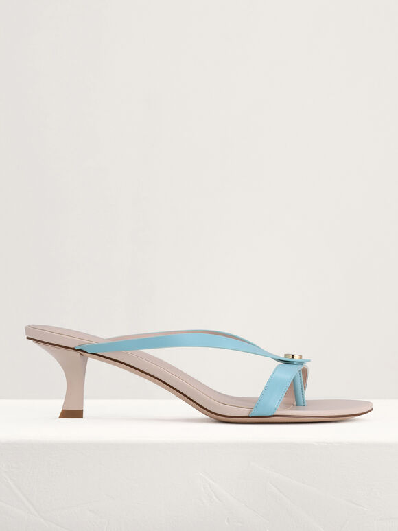 Thong Heeled Sandals, Turquoise, hi-res