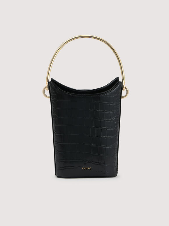 Embossed Leather Bucket Bag, Black, hi-res