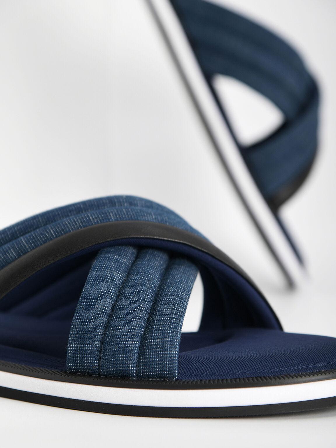Denim Criss-Cross Sandals, Navy, hi-res
