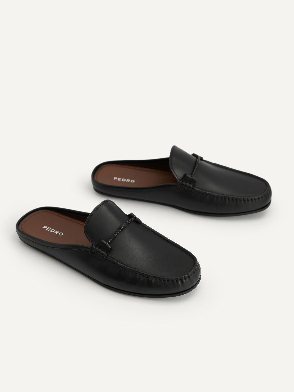 Leather Slip-On Loafers, Black, hi-res