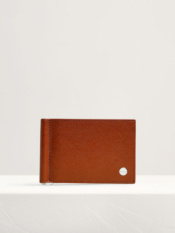Leather Bi-Fold Money Clip Cardholder, Cognac, hi-res