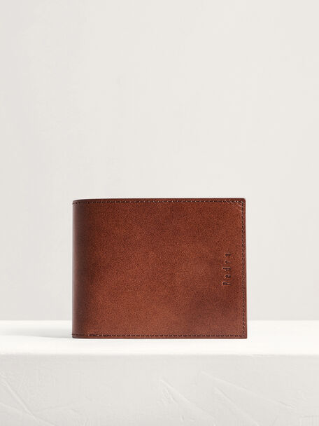 Leather Bi-Fold Wallet, Dark Brown, hi-res