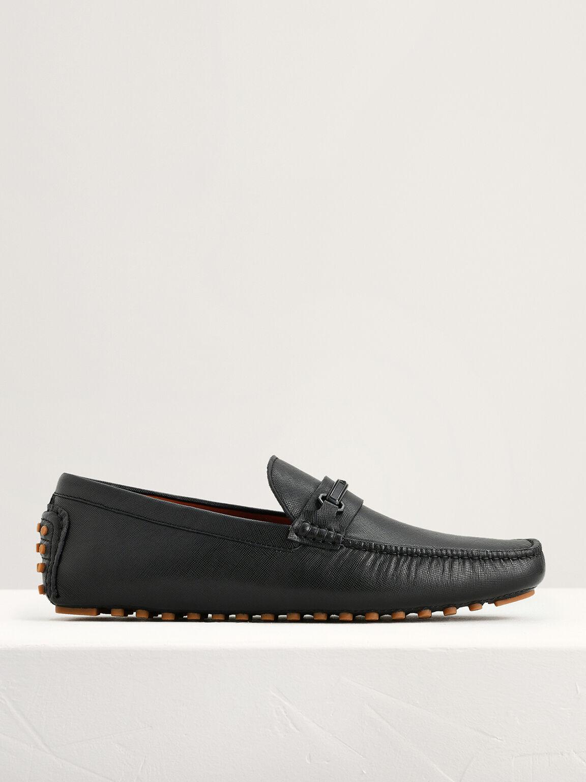 Bit Leather Moccasins, Black, hi-res