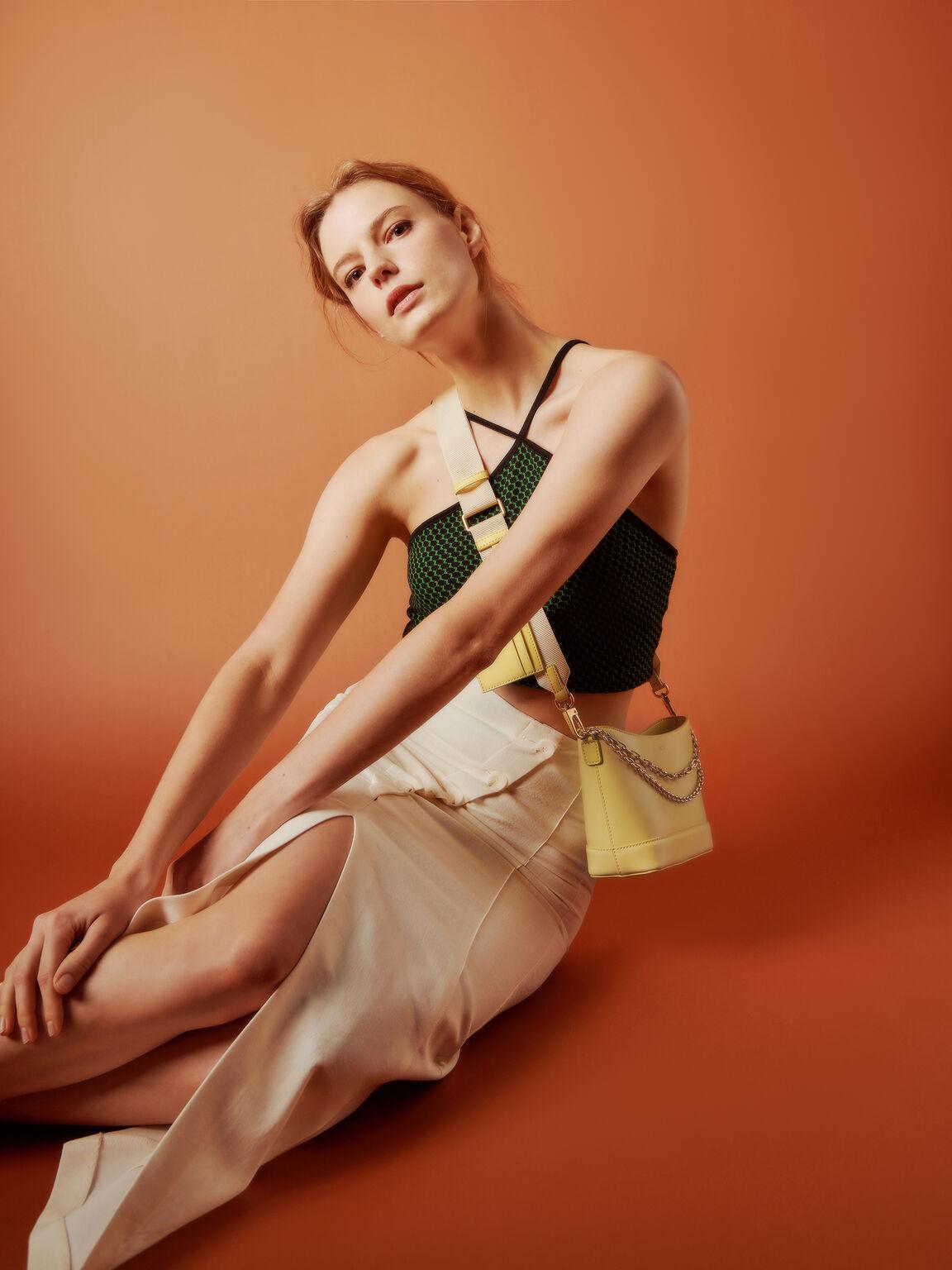 Leather Shoulder Bag, Light Yellow, hi-res