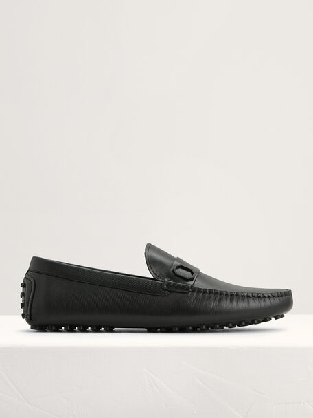Embossed Leather Moccasins with Octagon Hardware, Black, hi-res