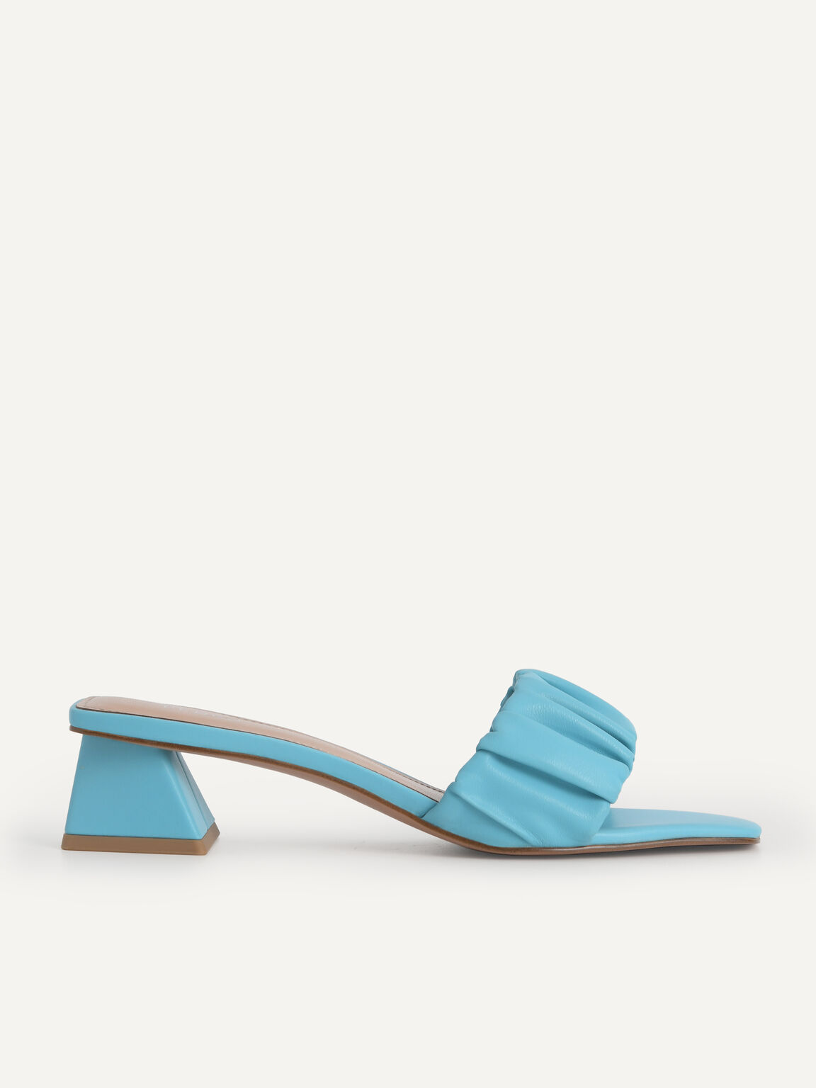 Ruched Heeled Mules, Cyan, hi-res