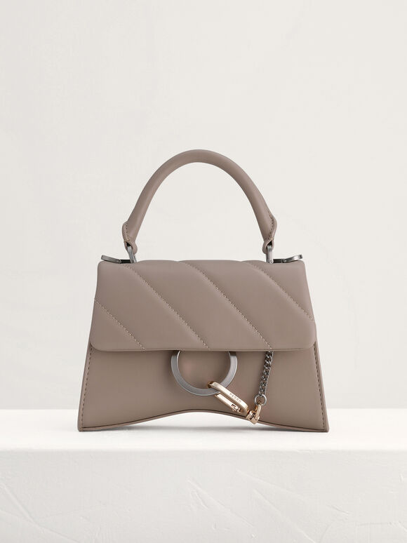 Qulited Top Handle Bag, Taupe, hi-res
