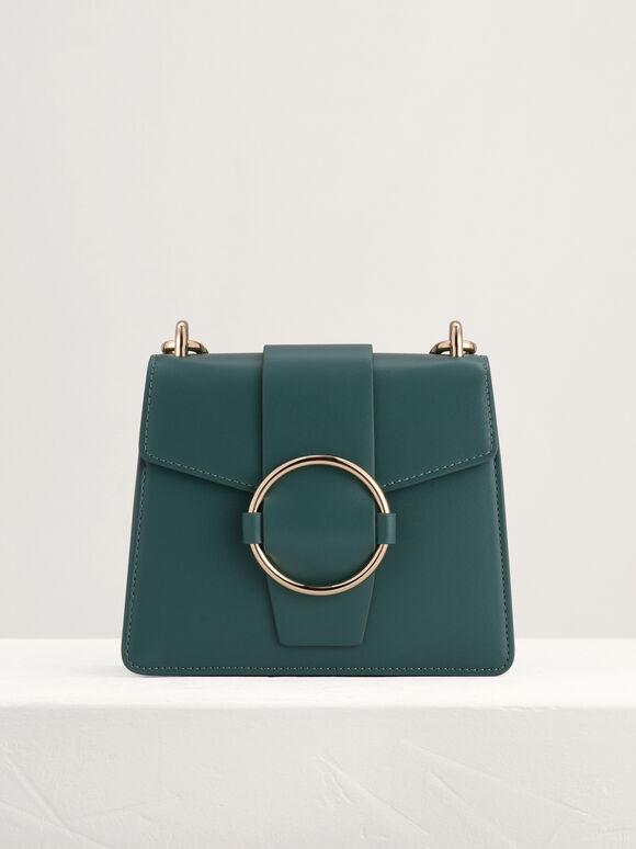 Buckled Shoulder Bag, Dark Green, hi-res