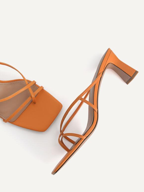 Strappy Toe Loop Heeled Sandals, Orange, hi-res