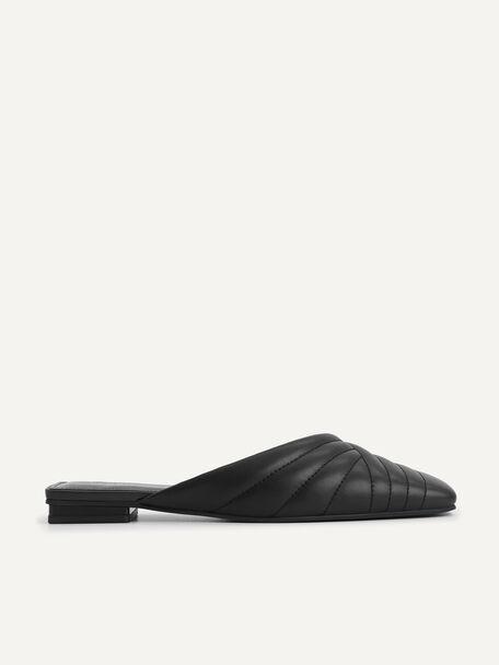 Leather Mules, Black, hi-res
