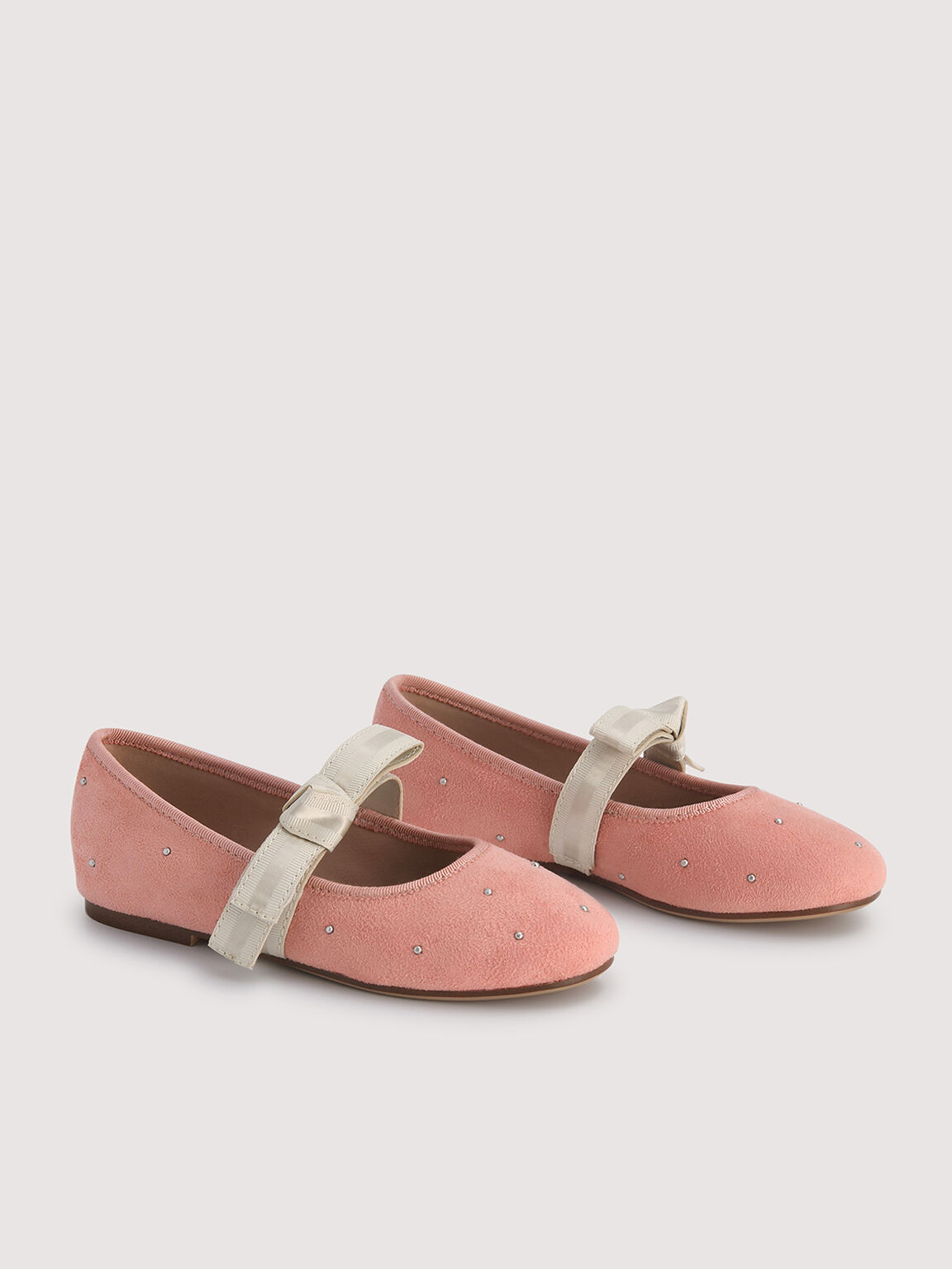 Ballerina Flats with Pearl Detailing, Coral, hi-res