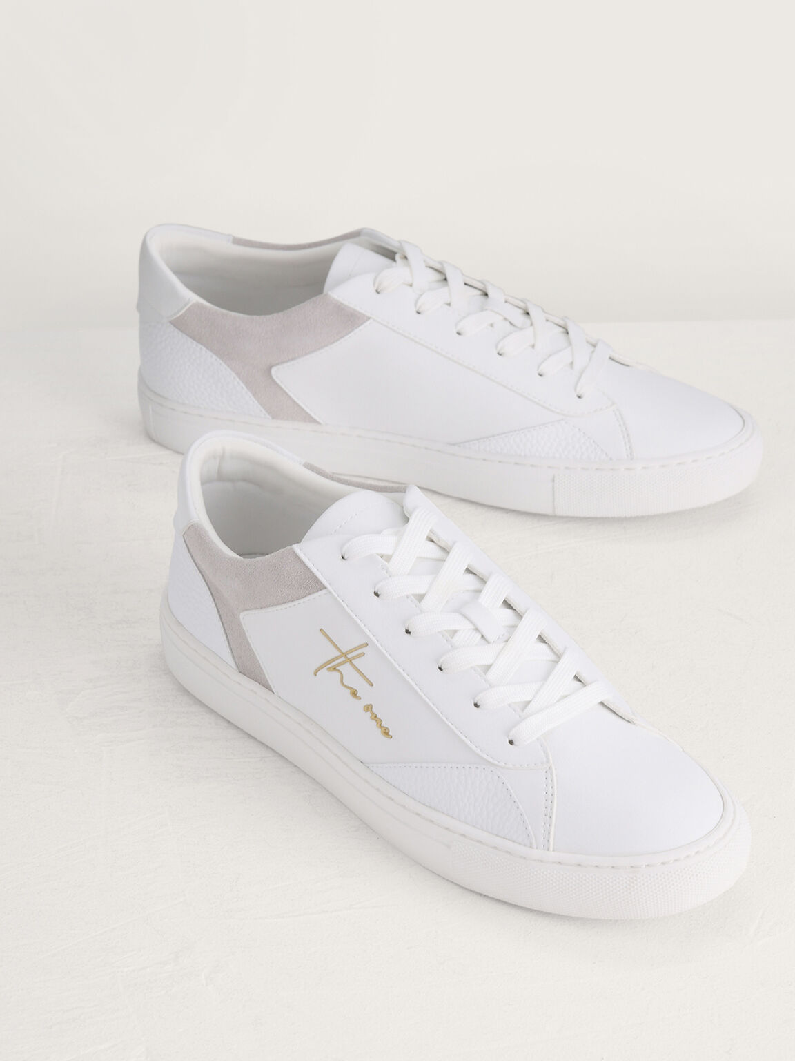 Casual Court Sneakers with Suede Detailing, White, hi-res