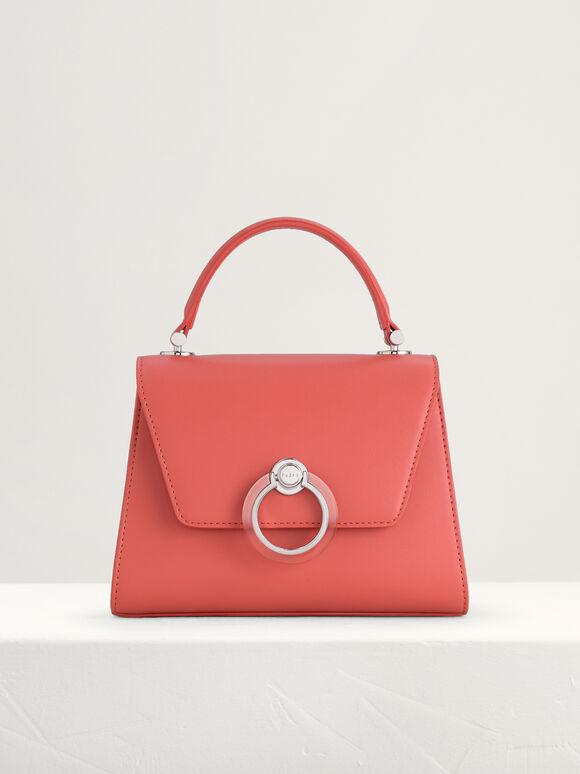 Sturctured Top Handle Bag, Peach, hi-res