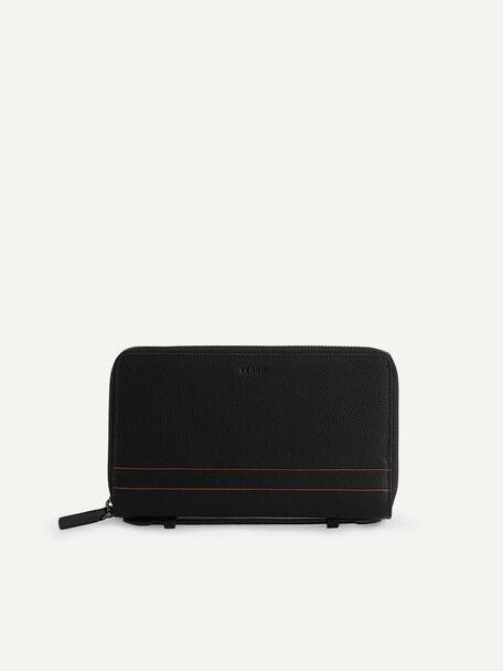 Textured Leather Travel Organizer, Black, hi-res