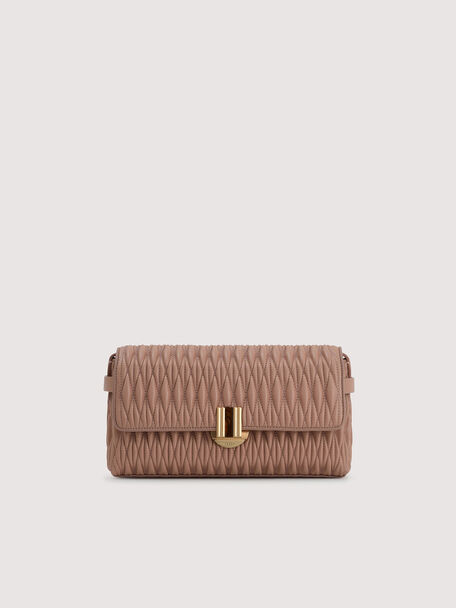 Quilted Shoulder Bag With Precious Stone Closure, Nude, hi-res