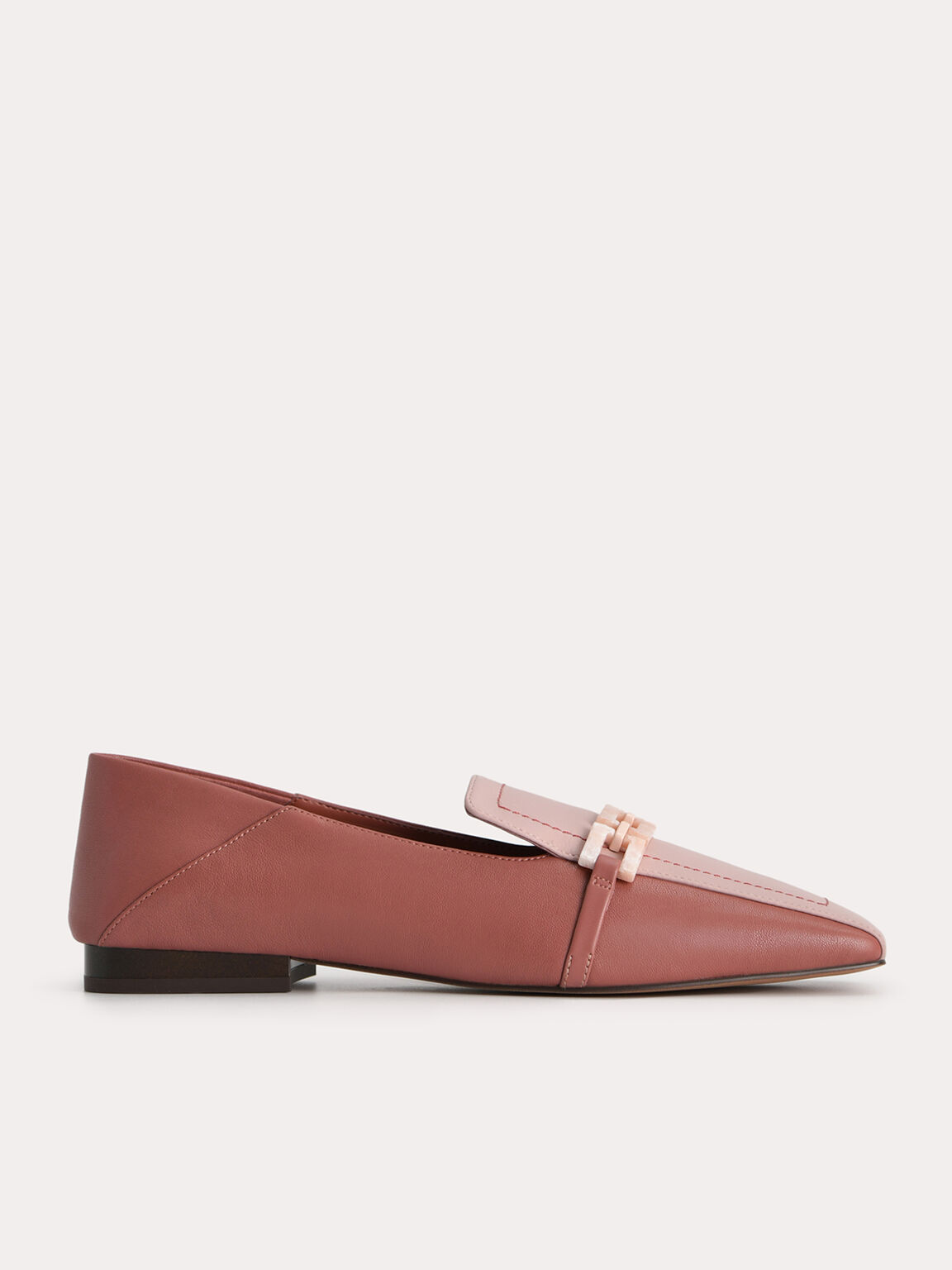 Leather Square Toe Loafers, Walnut, hi-res